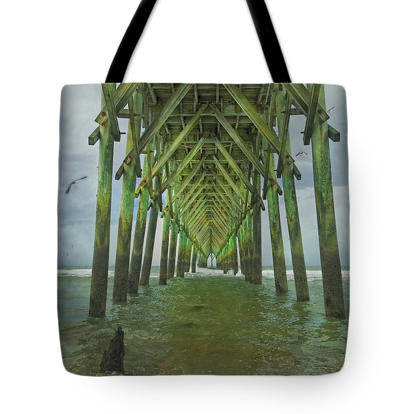 Tranquil Topsail Surf City Pier Tote Bag by Betsy Knapp