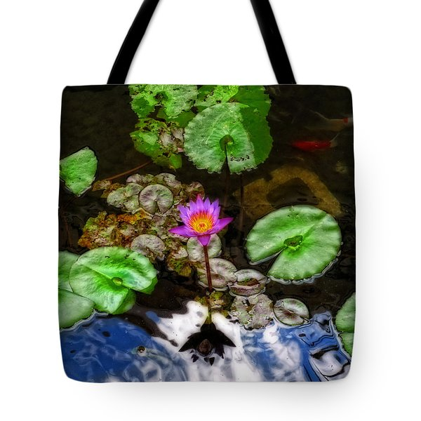 Tranquility - Lotus Flower Koi Pond By Sharon Cummings Tote Bag by Sharon Cummings