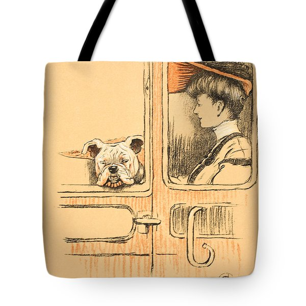 Traveling In First Class Tote Bag by Cecil Charles Windsor Aldin