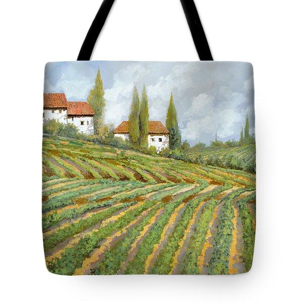 Tre Case Bianche Nella Vigna Tote Bag by Guido Borelli