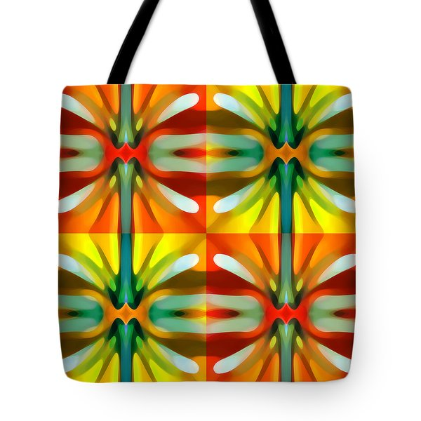 Tree Light Square Pattern Tote Bag by Amy Vangsgard