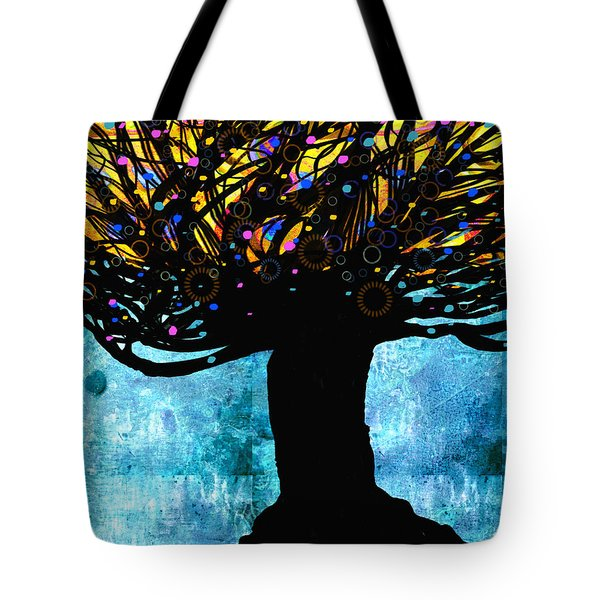 Tree Of Life Blue And Yellow Tote Bag by Ann Powell