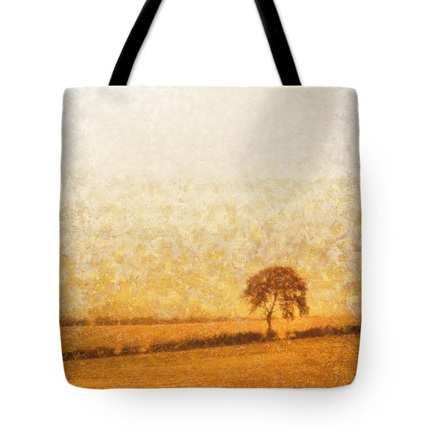 Tree On Hill At Dusk Tote Bag by Pixel  Chimp
