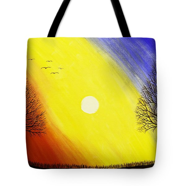 Tree Silhouette At Sunset Painting Tote Bag by Keith Webber Jr