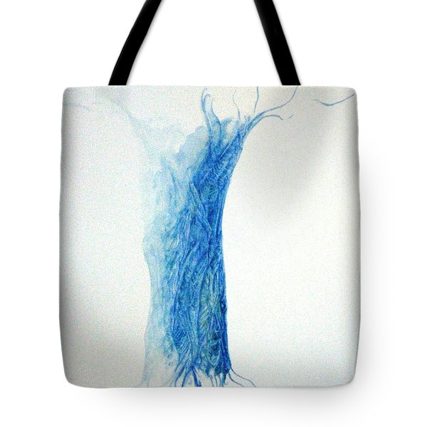 Tree Weaving In Blue Tote Bag by Laura Hamill