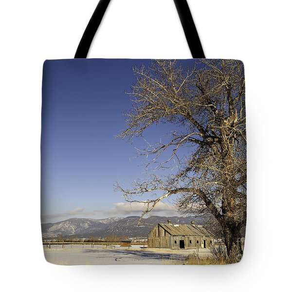 Tree With Barn Tote Bag by Sue Smith