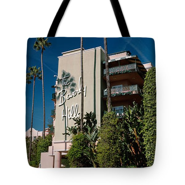 Trees In Front Of A Hotel, Beverly Tote Bag by Panoramic Images