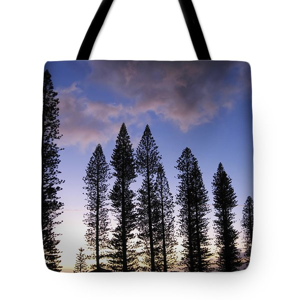 Trees In Silhouette Tote Bag by Adam Romanowicz