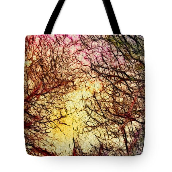 Trees Of The Four Seasons Tote Bag by Kaye Menner