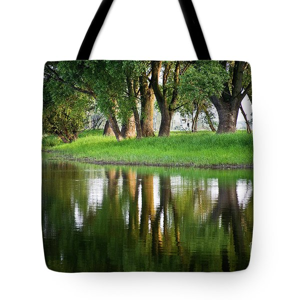 Trees Reflection on the Lake Tote Bag by Heiko Koehrer-Wagner