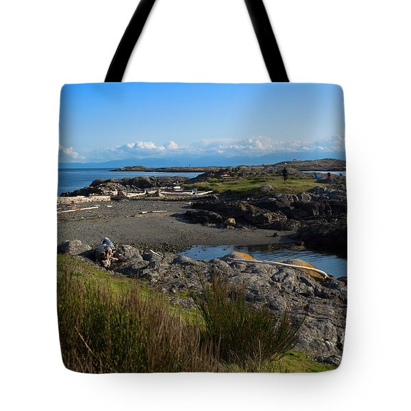 Trial Island And The Strait Of Juan De Fuca II Tote Bag by Louise Heusinkveld