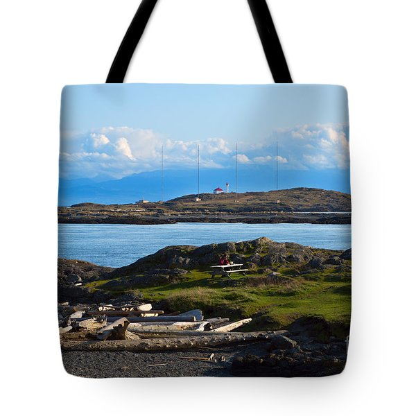 Trial Island And The Strait Of Juan De Fuca Tote Bag by Louise Heusinkveld