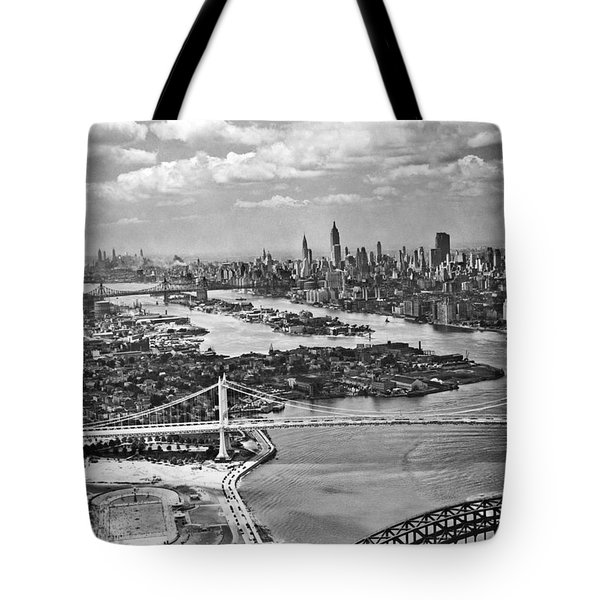 Triborough Bridge Is Completed Tote Bag by Underwood Archives