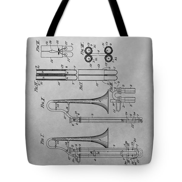 Trombone Patent Drawing Tote Bag by Dan Sproul