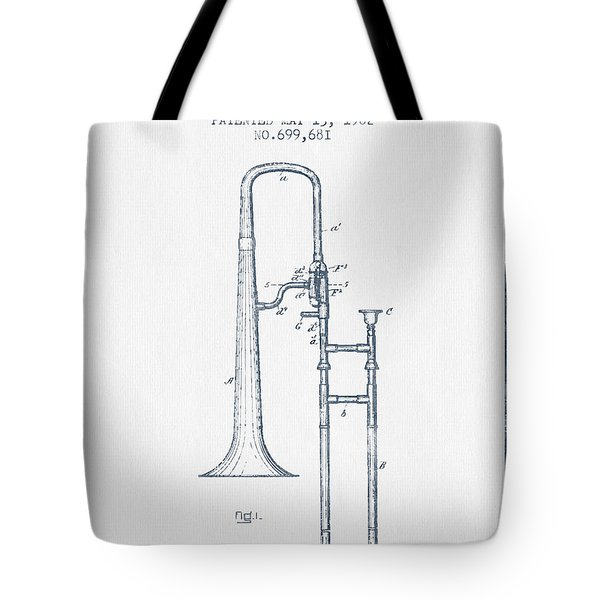 Trombone Patent From 1902 - Blue Ink Tote Bag by Aged Pixel