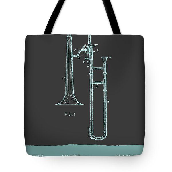 Trombone Patent From 1902 - Modern Gray Blue Tote Bag by Aged Pixel
