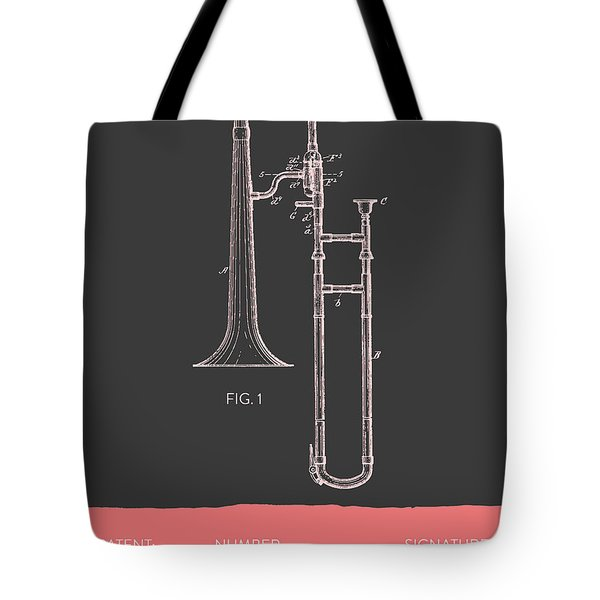 Trombone Patent From 1902 - Modern Gray Salmon Tote Bag by Aged Pixel