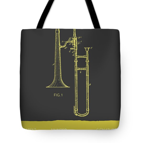 Trombone Patent From 1902 - Modern Gray Yellow Tote Bag by Aged Pixel