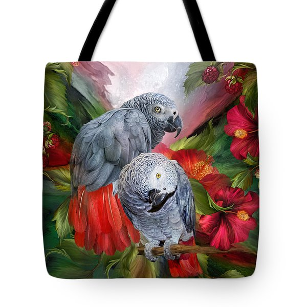 Tropic Spirits - African Greys Tote Bag by Carol Cavalaris