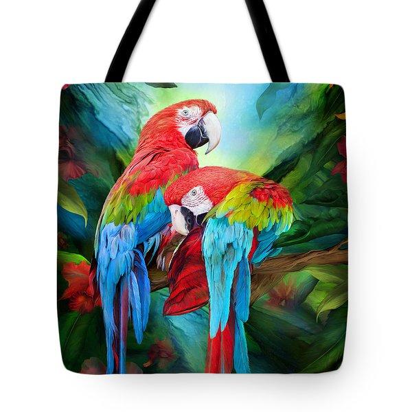 Tropic Spirits - Macaws Tote Bag by Carol Cavalaris