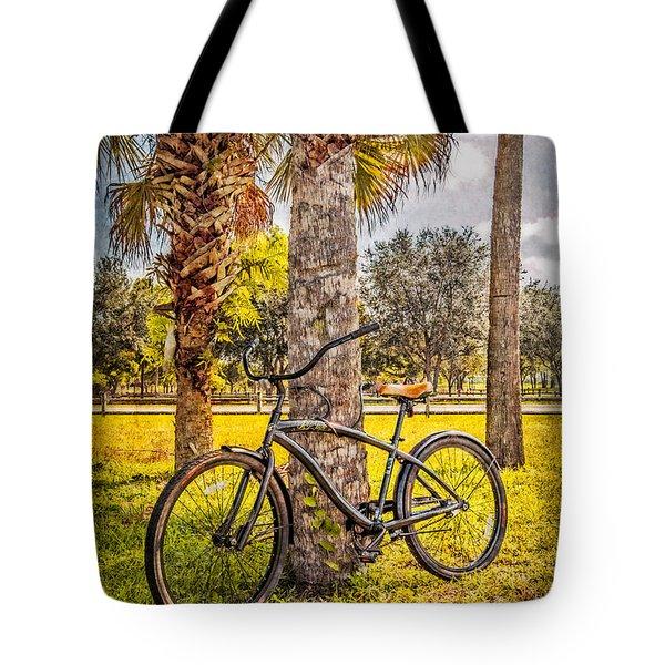 Tropical Bicycle Tote Bag by Debra and Dave Vanderlaan