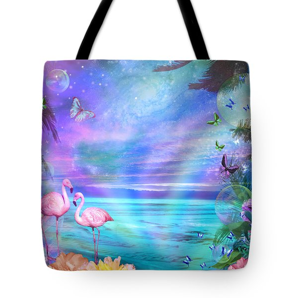 Tropical Moonlight Flamingos Tote Bag by Alixandra Mullins