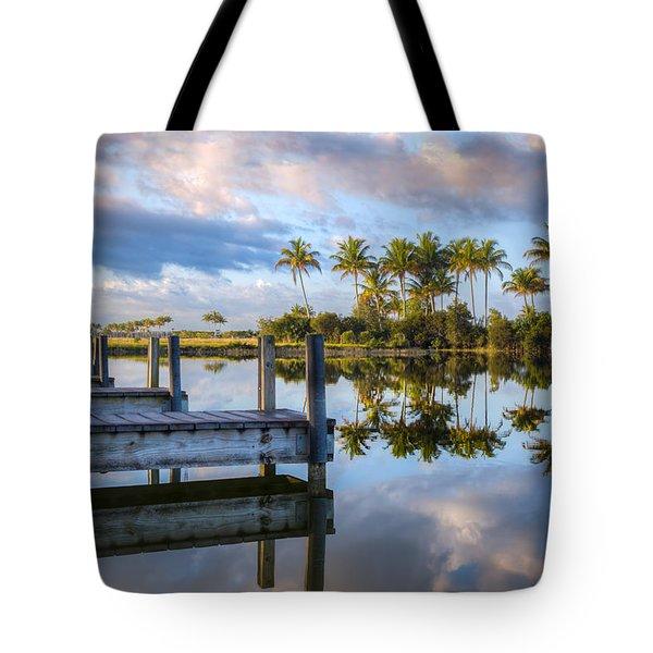 Tropical Morning Tote Bag by Debra and Dave Vanderlaan