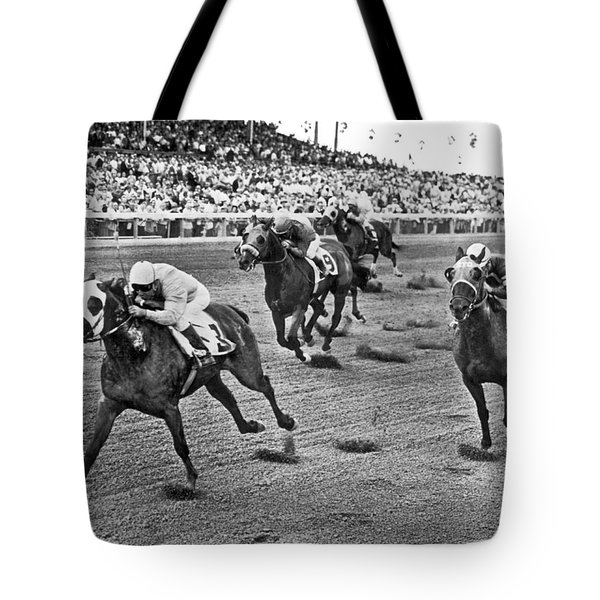 Tropical Park Horse Race Tote Bag by Underwood Archives