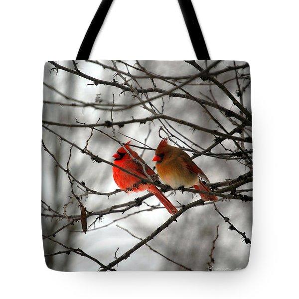 True Love Cardinal Tote Bag by Peggy  Franz