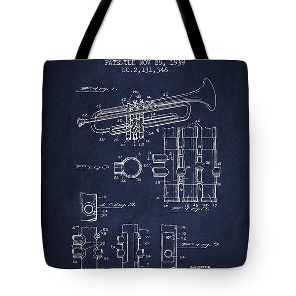 Trumpet Patent From 1939 - Blue Tote Bag by Aged Pixel