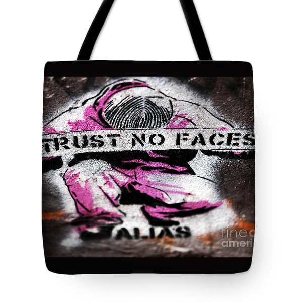 Trust No Faces Tote Bag by John Rizzuto