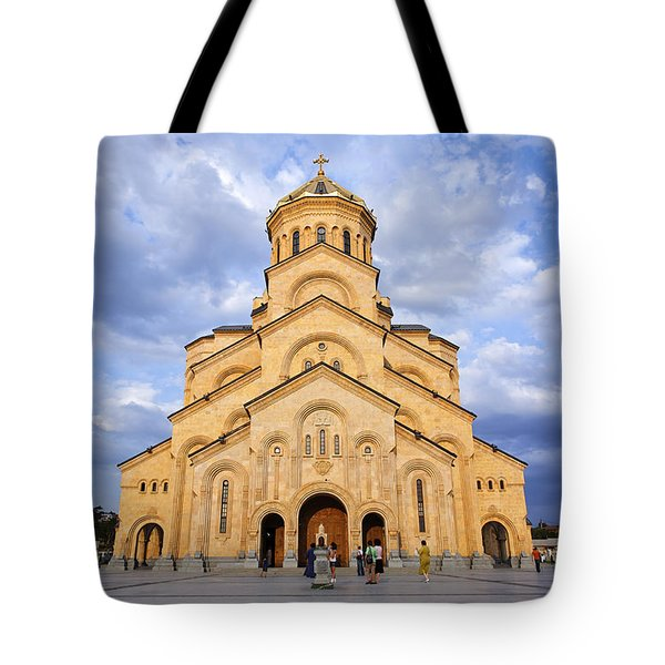 Tsminda Sameba Cathedral Tbilisi Tote Bag by Robert Preston