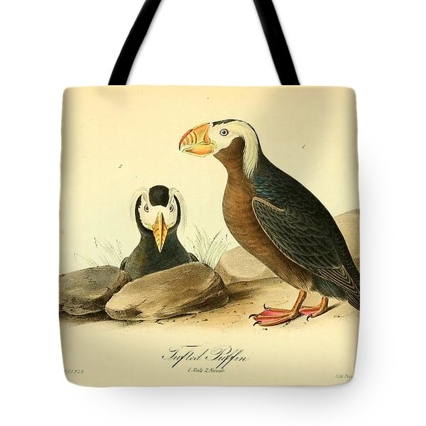 Tufted Puffins Tote Bag by John James Audubon