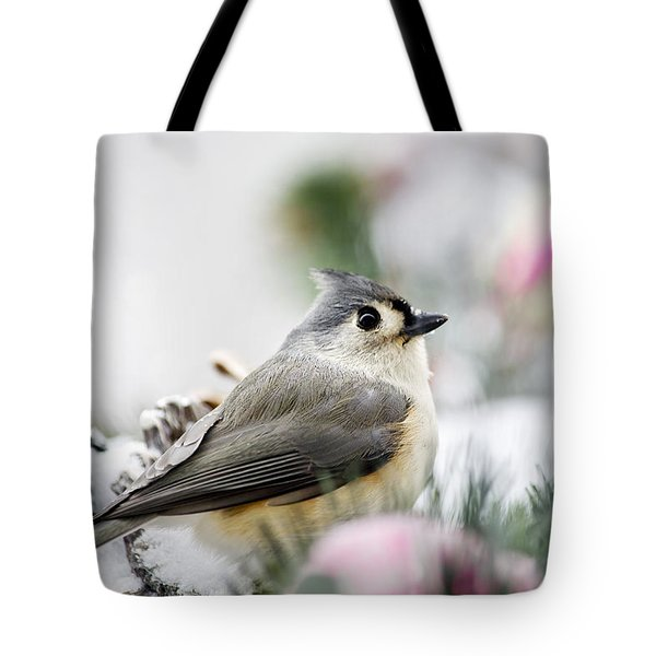 Tufted Titmouse Portrait Tote Bag by Christina Rollo