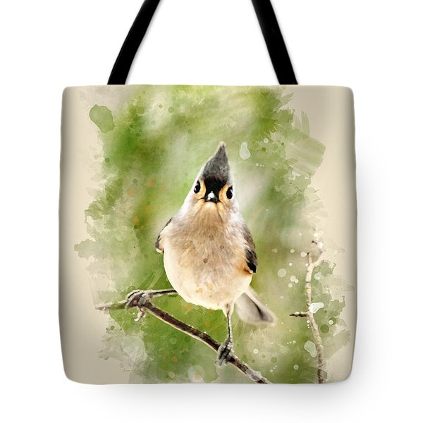 Tufted Titmouse - Watercolor Art Tote Bag by Christina Rollo