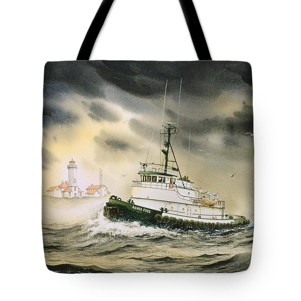 Tugboat Agnes Foss Tote Bag by James Williamson