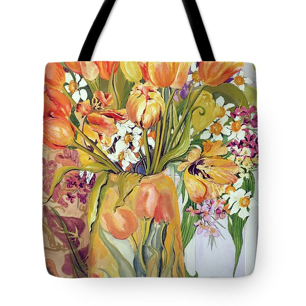 Tulips And Narcissi In An Art Nouveau Vase Tote Bag by Joan Thewsey