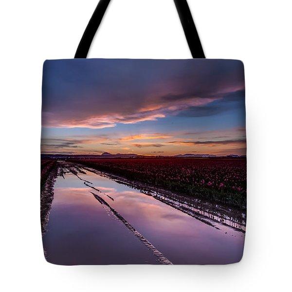Tulips And Purple Skies Tote Bag by Mike Reid