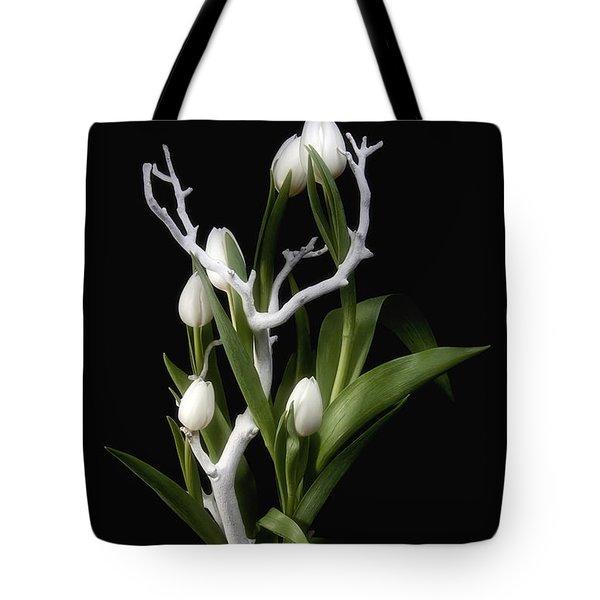 Tulips In Tree Branch Still Life Tote Bag by Tom Mc Nemar