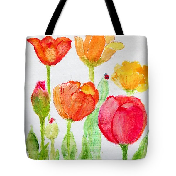 Tulips With Lady Bug Tote Bag by Ashleigh Dyan Bayer