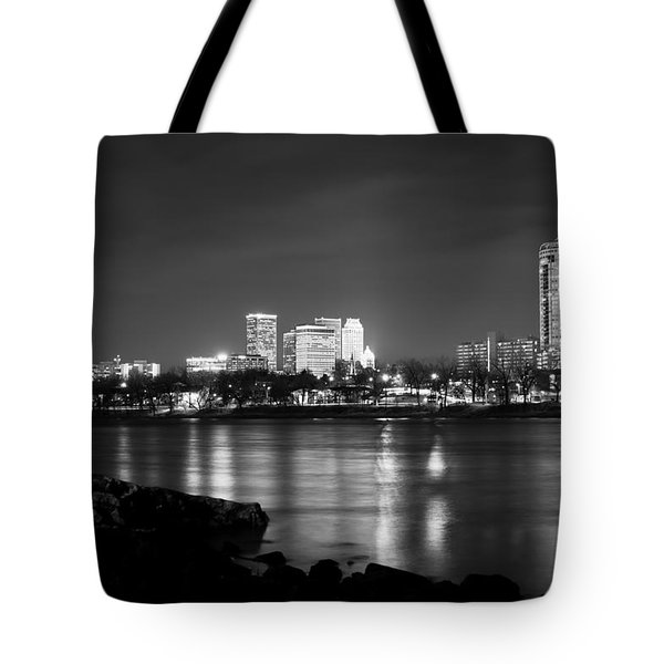 Tulsa In Black And White - University Tower View Tote Bag by Gregory Ballos