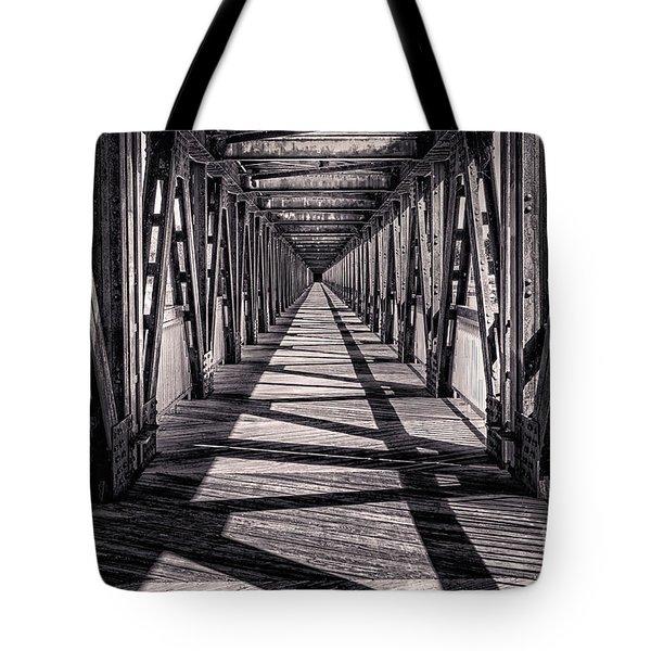 Tulsa Pedestrian Bridge In Black And White Tote Bag by Tamyra Ayles