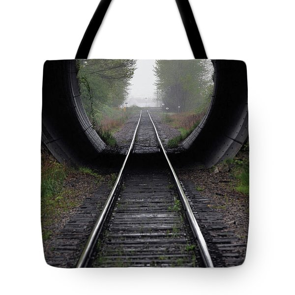 Tunnel Into The Mist Tote Bag by Rod Wiens