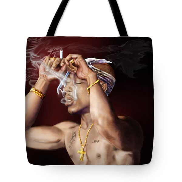 Tupac - Burning Lights Series  Tote Bag by Reggie Duffie