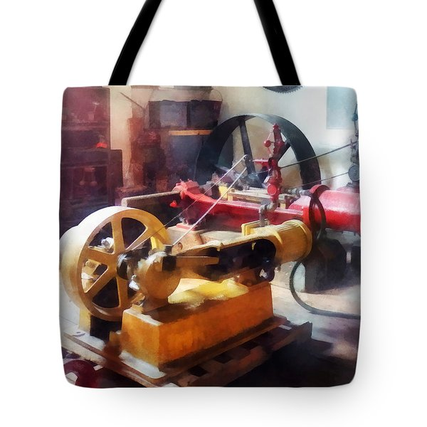 Turn Of The Century Machine Shop Tote Bag by Susan Savad