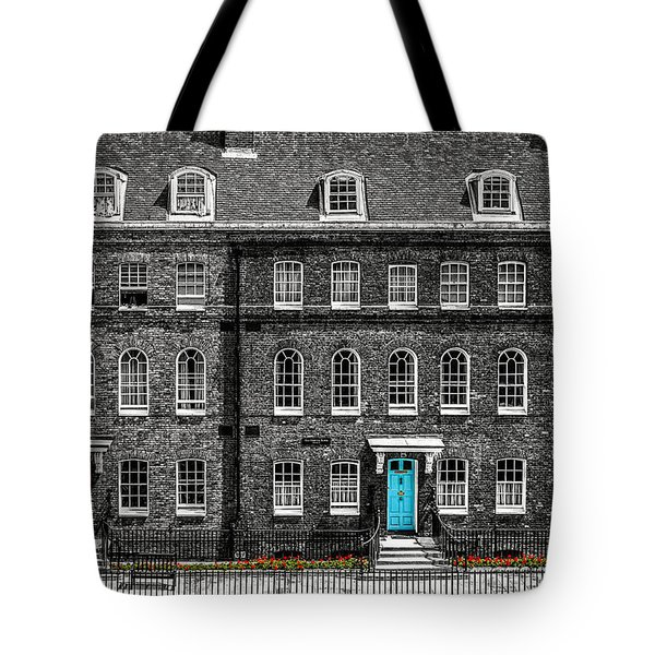 Turquoise Doors At Tower Of London's Old Hospital Block Tote Bag by James Udall