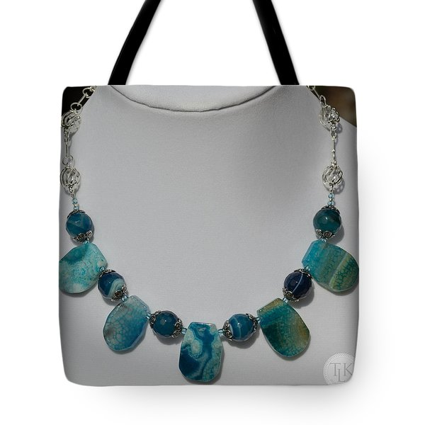 Turquoise And Sapphire Agate Necklace 3674 Tote Bag by Teresa Mucha