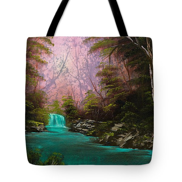 Turquoise Waterfall Tote Bag by C Steele