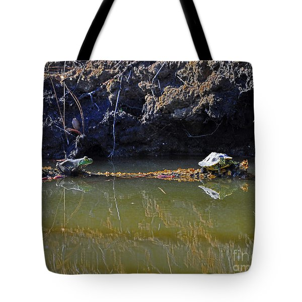 Turtle And Frog On A Log Tote Bag by Al Powell Photography USA