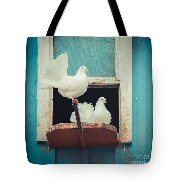 Turtle Doves 1x1 Tote Bag by Hannes Cmarits